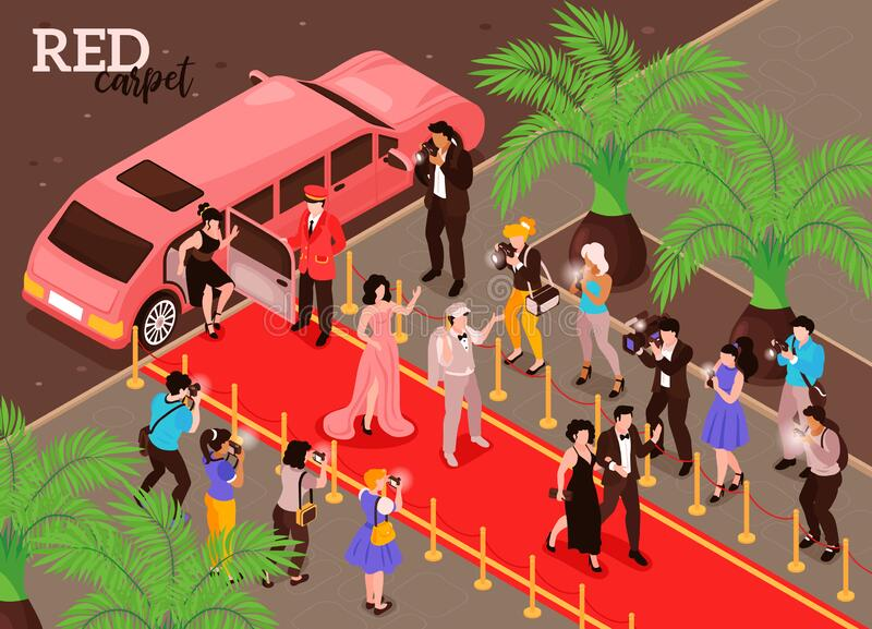 Isometric Red Carpet Composition stock images