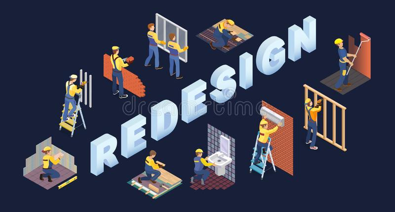 Isometric redesign services concept. Team of builders are works. Vector. stock illustration