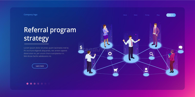 Isometric Referral marketing, network marketing, referral program strategy, referring friends, business partnership vector illustration