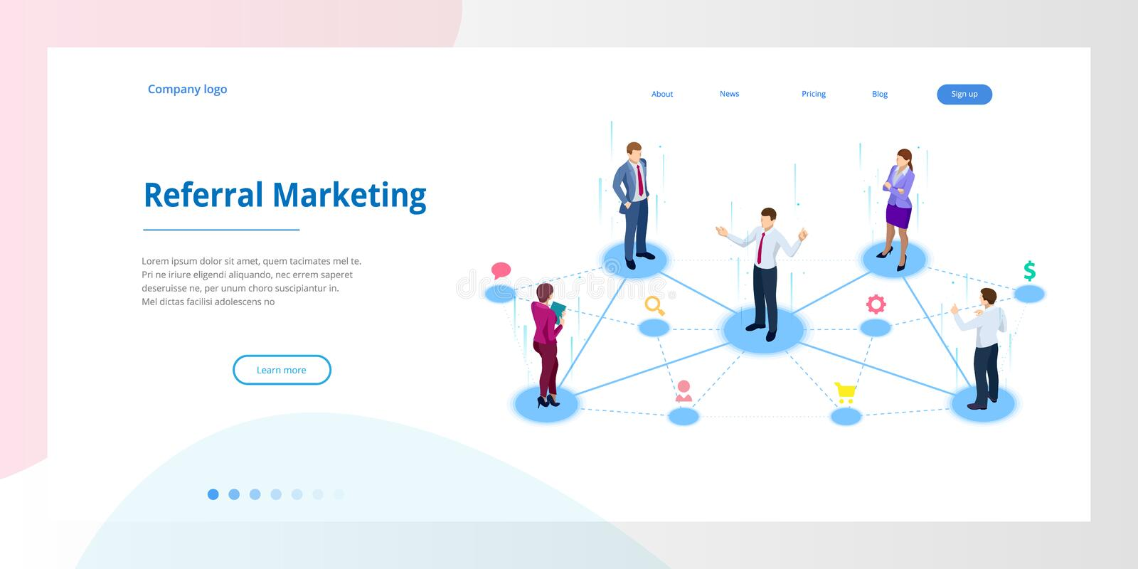 Isometric Referral marketing, network marketing, referral program strategy, referring friends, business partnership. Affiliate marketing concept. Landing page royalty free illustration