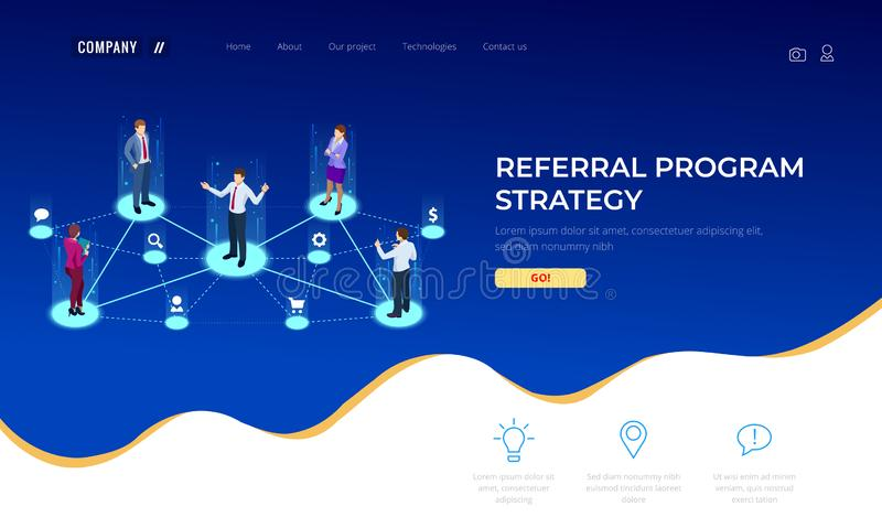 Isometric Referral marketing, network marketing, referral program strategy, referring friends, business partnership. Affiliate marketing concept. Landing page vector illustration