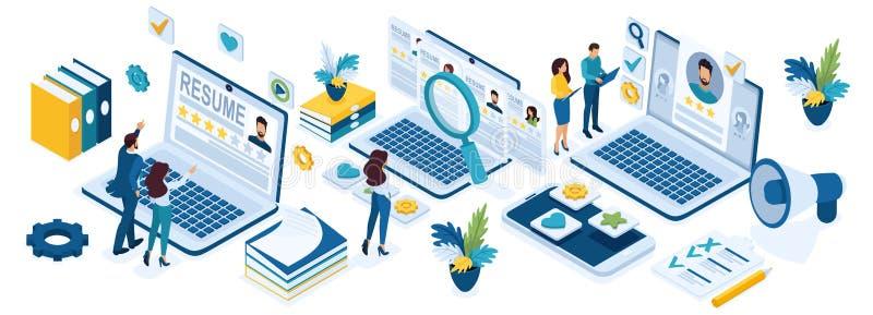Isometric rekrutacja ludzie biznesu, rekrutacyjny pojęcie, HR kierownicy, osoba poszukująca pracy, wznawia ilustracja wektor