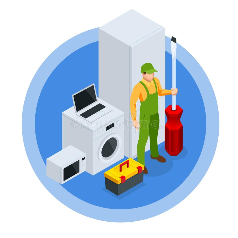 Isometric Repair of Household Appliances Concept. Call Master Repair of Household Appliances. Isometric Repair of Household Appliances Concept. Call Master royalty free illustration