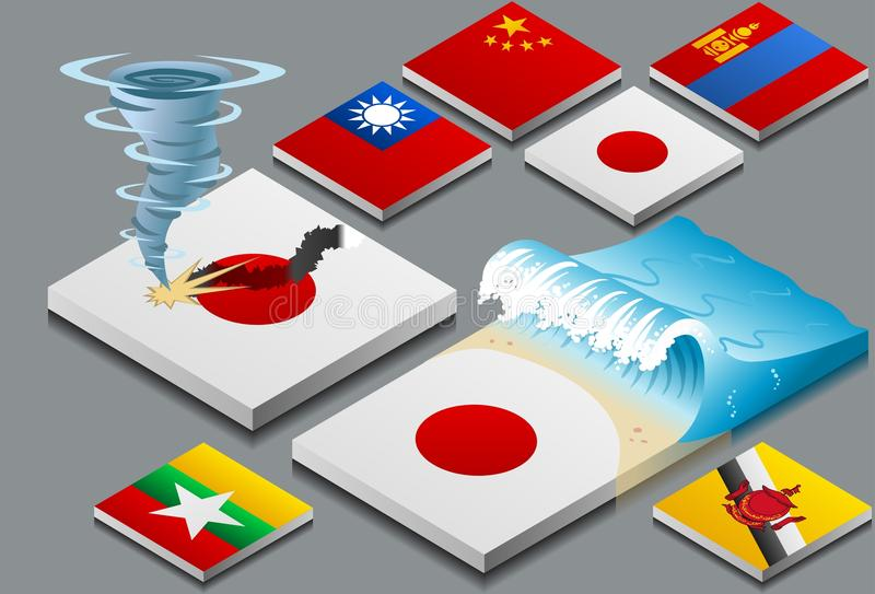 Isometric representation of natural disaster, tzun stock illustration