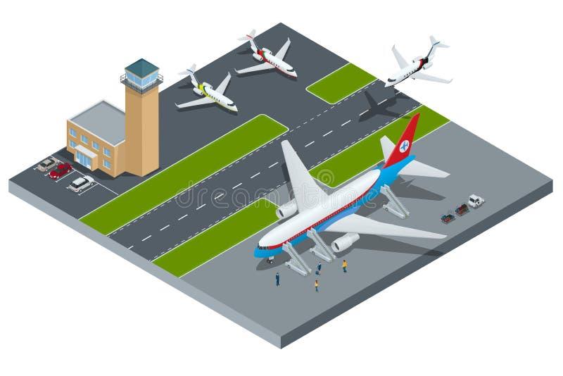 Isometric reprezentuje lotnisko, międzynarodowe linie lotnicze royalty ilustracja