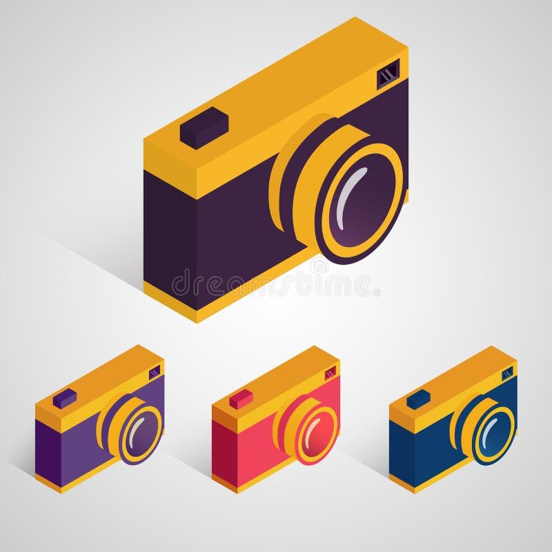 Isometric retro camera. Vector set. royalty free illustration