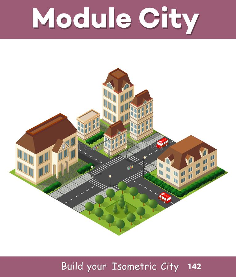 Isometric retro 3D. Urban module of the city for construction and modeling of designing megapolis for creative web design and presentations vector illustration