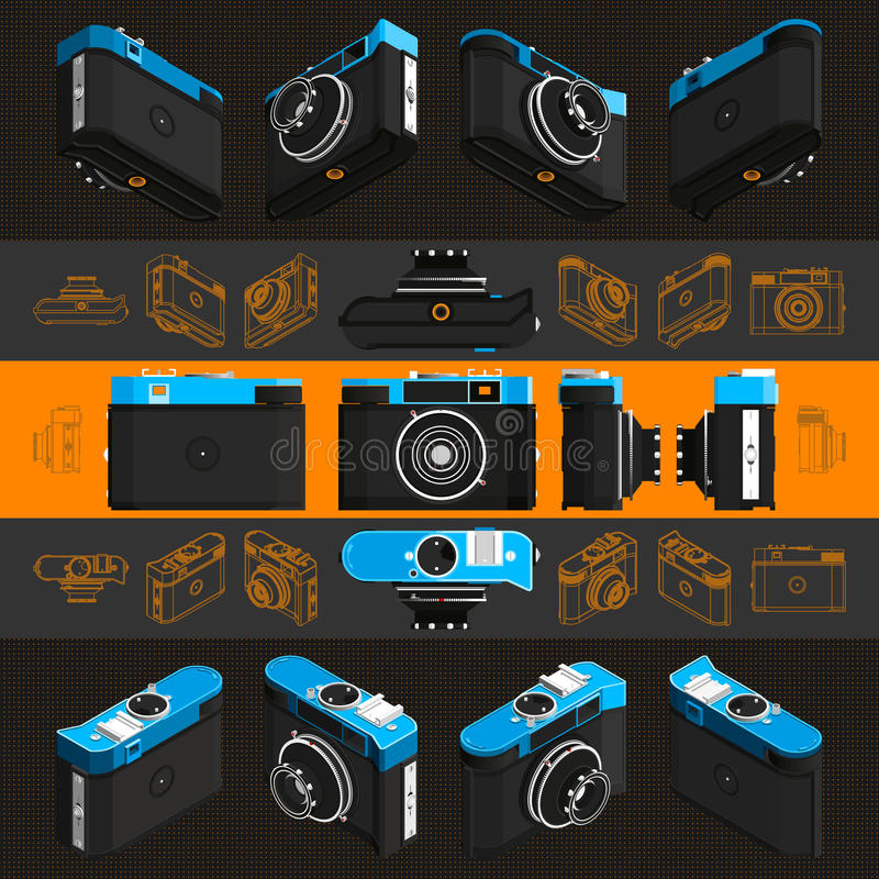 Isometric retro fotografii kamera, 3D Set 3 fotografia stock