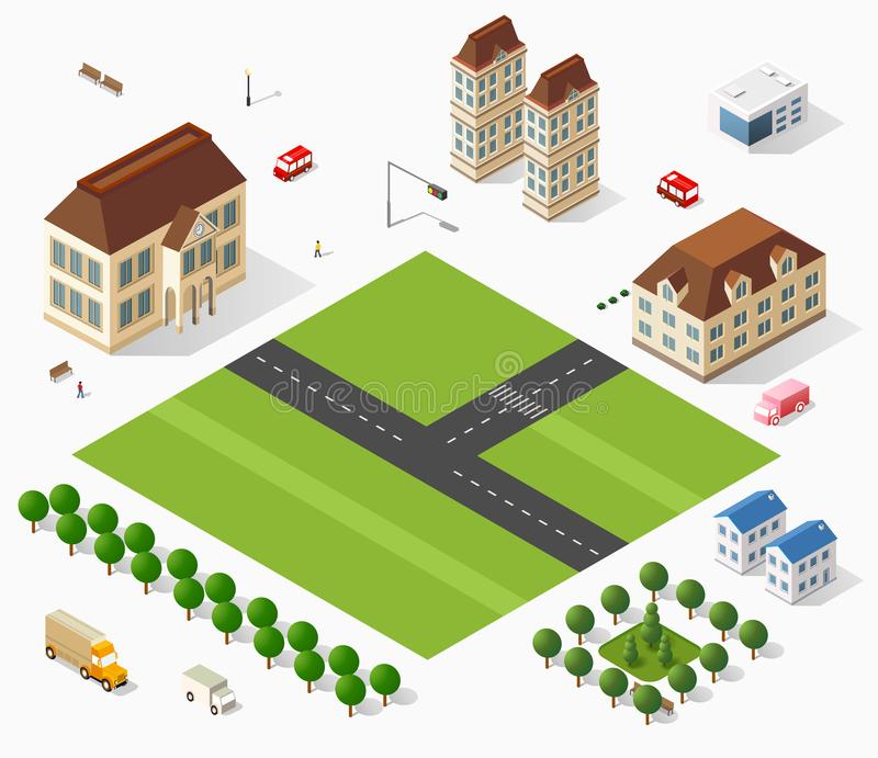 Isometric retro set. 3D urban module of the city for construction and modeling of designing megapolis for creative web design and presentations vector illustration