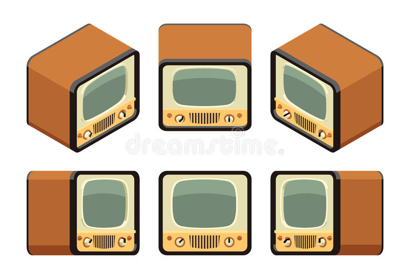 Isometric retro TV sets stock illustration