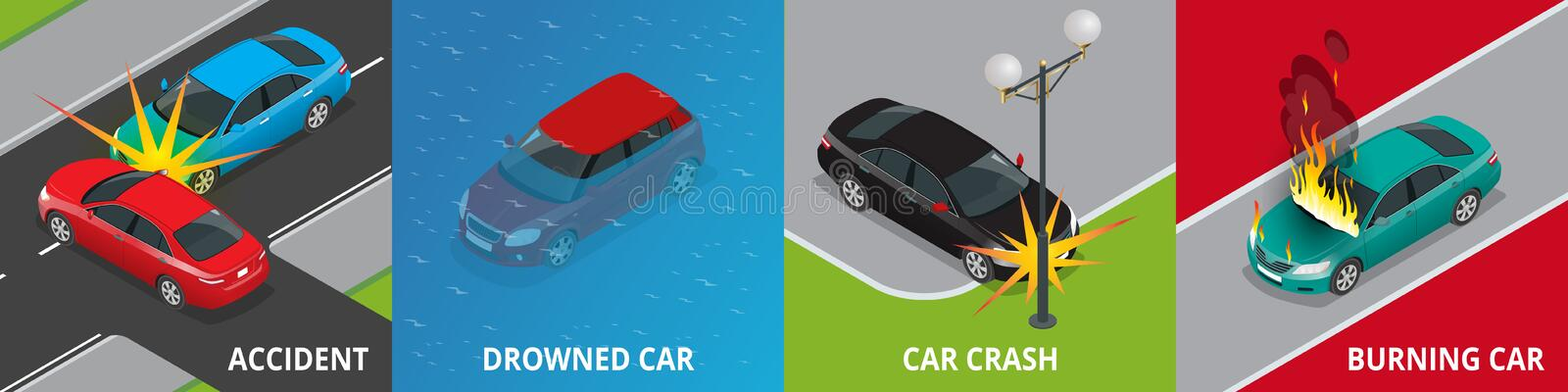 Isometric road accident, drowned car, car crash, burning car concept stock illustration