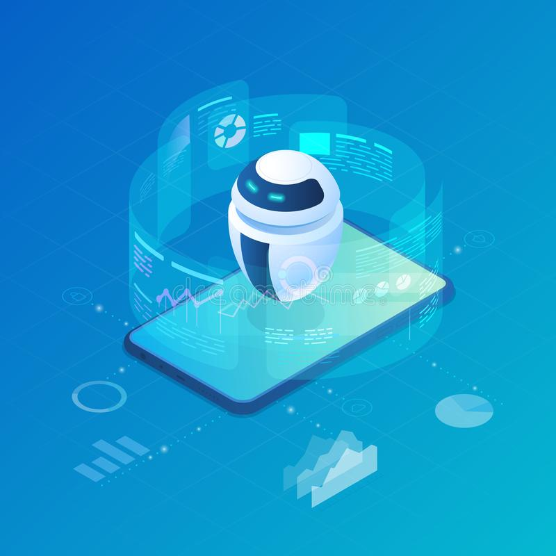 Isometric Robot Bot operating virtual HUD interface vector illustration. Artificial Intelligence, Automation Process Technology vector illustration