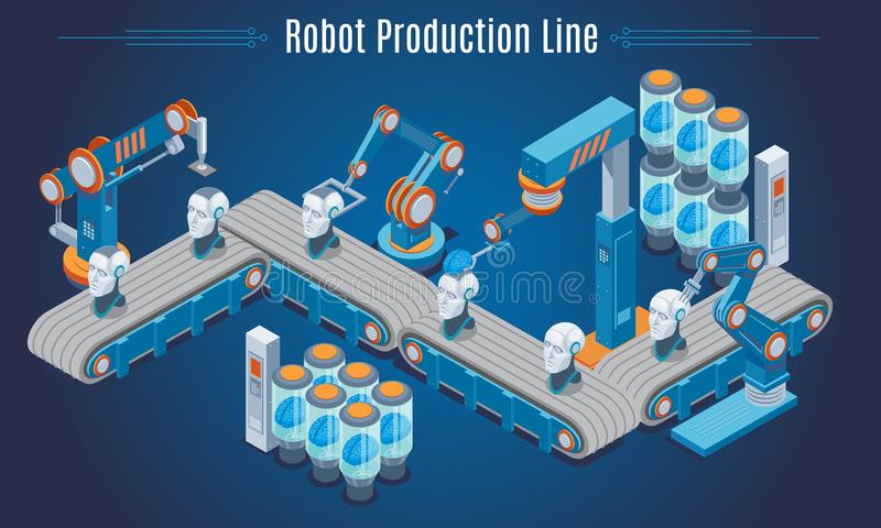 Isometric Robot Production Line Template vector illustration