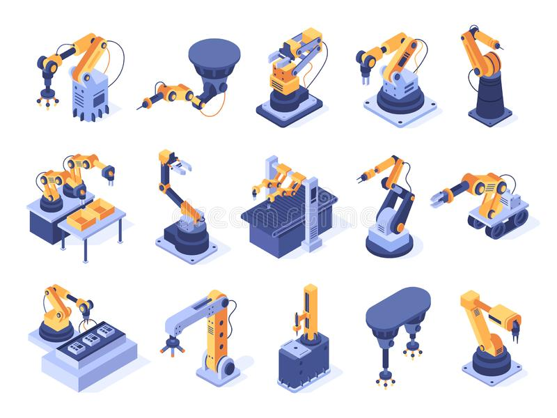 Isometric robotic arm. Industrial factory machines, manufacturing automatisation and production line robot arms 3d vector illustration