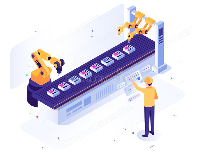 Isometric robotic factory. Engineer operates robotic conveyor, automatic robot arm and industrial manufacture vector royalty free illustration