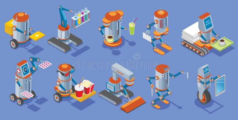 Isometric Robots Collection vector illustration