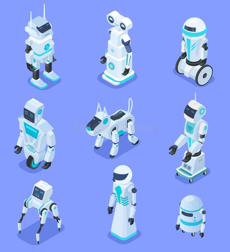 Isometric robots. Isometric robotic home assistant security robot pet. Futuristic 3d robots with artificial intelligence vector illustration