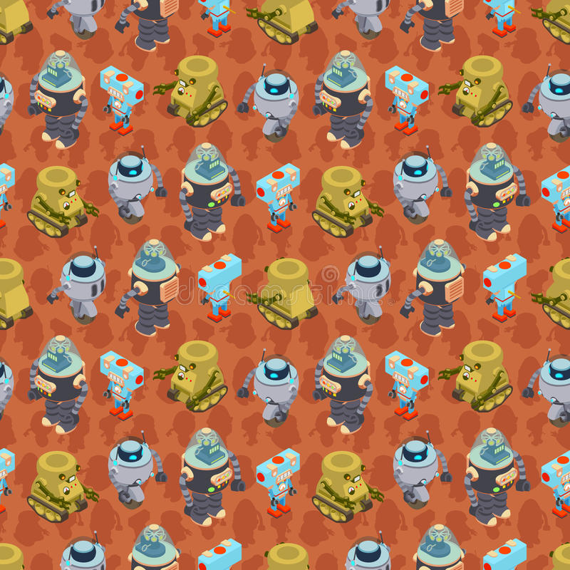 Isometric robots seamless pattern. This is the isometric robots seamless pattern stock illustration