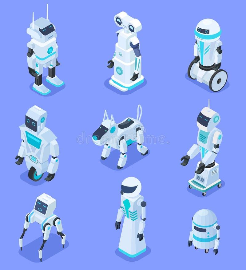 Isometric roboty Isometric mechaniczny domowy pomocniczy ochrona robota zwierzę domowe Futurystyczni 3d roboty z sztuczną intelig ilustracja wektor