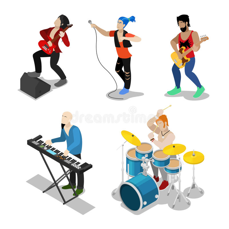 Isometric Rock Musicians with Singer, Guitarist and Drummer. Vector 3d flat illustration stock illustration