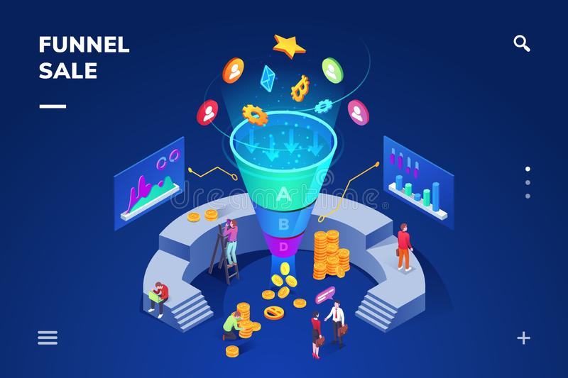 Isometric room with sale funnel generating sales. Isometric room with cone sale funnel generating sales. Money and coin, people using graphs and charts for royalty free illustration