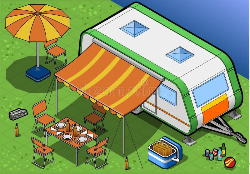 Isometric Roulotte w campingu w frontowym widoku ilustracji