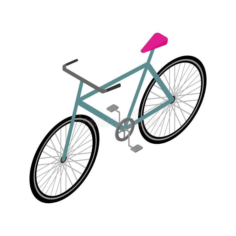 Isometric Rowerowa ikona Odosobniony wektor Podróży i Eco transportu pojęcia ilustracja ilustracji