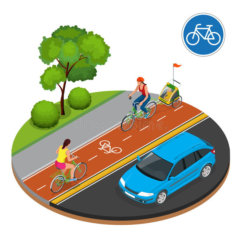 Isometric Rowerowi drogowego znaka i roweru jeźdzowie ilustracji