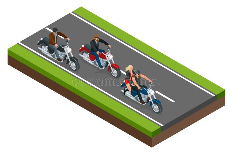 Isometric rowerzyści na motocyklu na drodze Pojęcie wolność i podróż ilustracja wektor