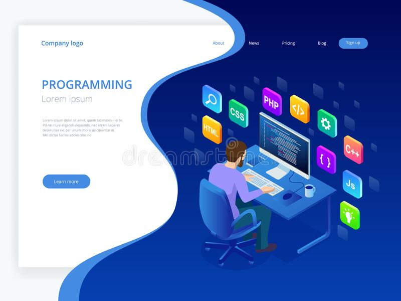 Isometric Rozwija programowania i cyfrowania technologie Strona internetowa projekt Młody programista koduje nowy projekta używać ilustracji