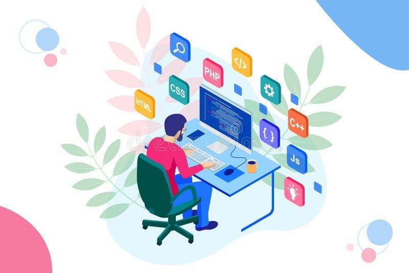 Isometric Rozwija programowania i cyfrowania technologie Strona internetowa projekt również zwrócić corel ilustracji wektora ilustracji