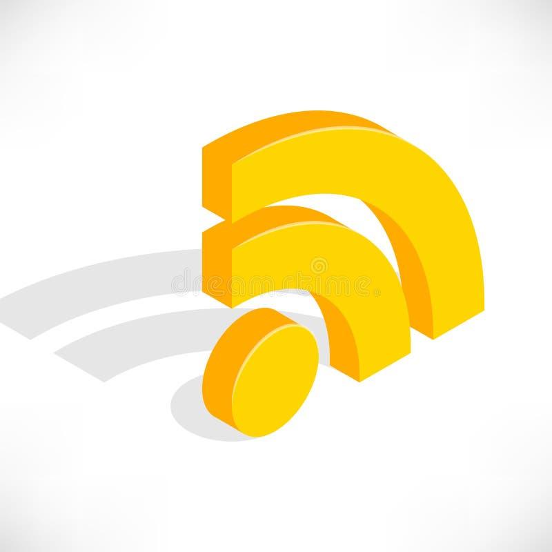 Isometric rss ikona ilustracji