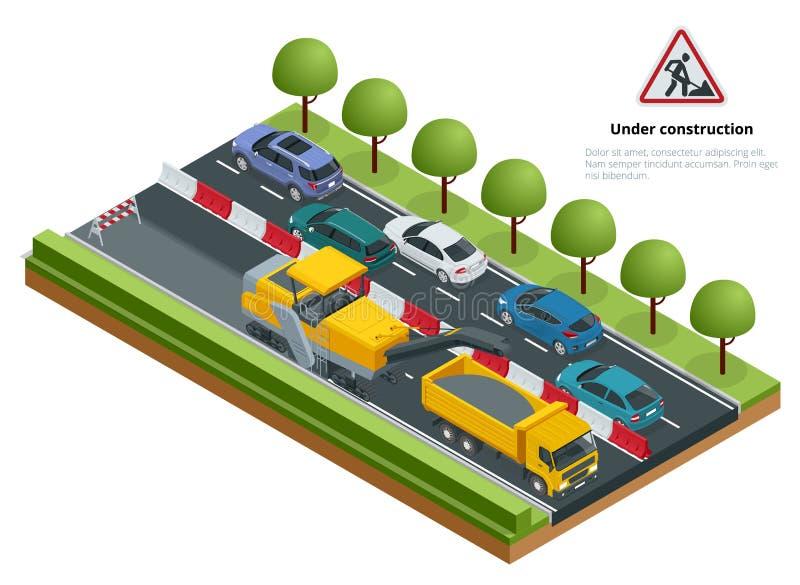 Isometric ruch drogowy na drodze, droga naprawia pojęcie Zimna mielenie maszyna usuwa asfaltową warstwę na drodze ilustracja wektor