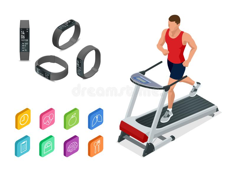 Isometric running on a treadmill and fitness bracelet or tracker isolated on white. Sports accessories, a wristband with. Running activity steps counter and vector illustration