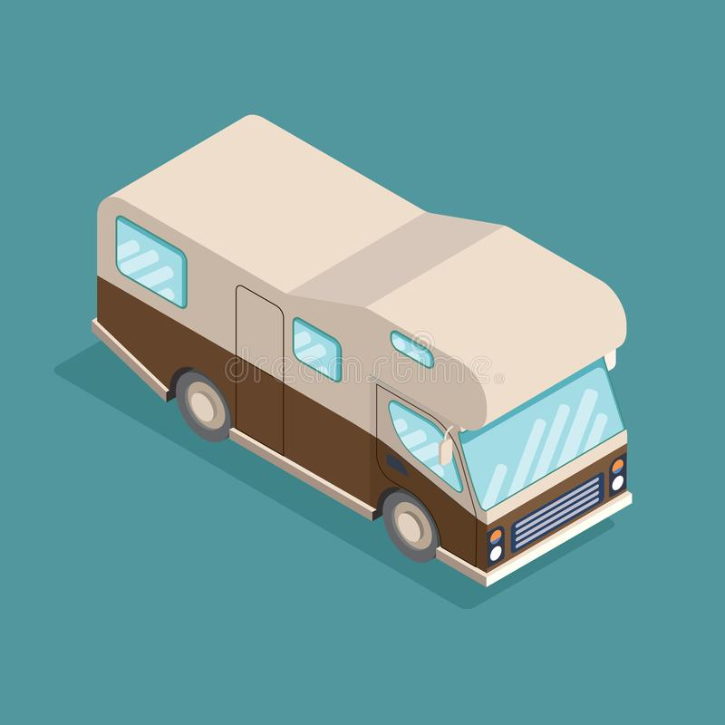 Isometric camping car. Travelling advertisement, infographics, game, mobile apps icon design. Isometric RV camper. Car for a family. Can be used for royalty free illustration
