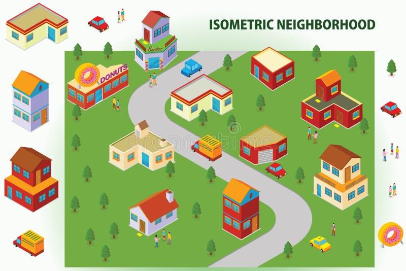 Isometric sąsiedztwo royalty ilustracja