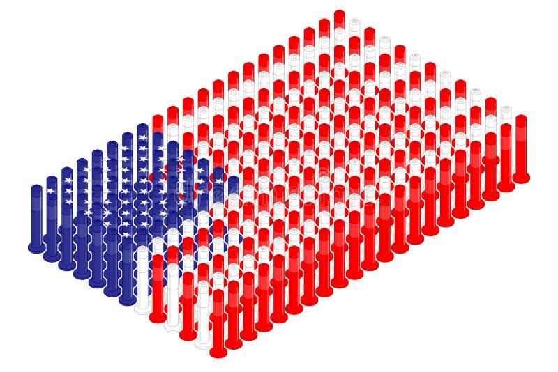 Isometric słupa ruchu drogowego zbawczy wyposażenie w rzędzie, Stany Zjednoczone flagi państowowej kształta pojęcia projekta ilus ilustracja wektor