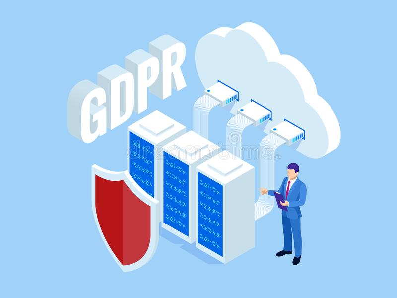 Isometric safety business. General data protection regulation GDPR concept. Idea of data protection. Online safety and vector illustration