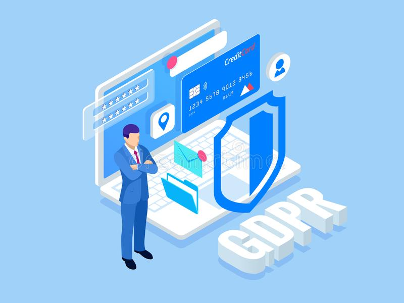 Isometric safety business. General data protection regulation GDPR concept. Idea of data protection. Online safety and. Privacy. Protection software, finance vector illustration