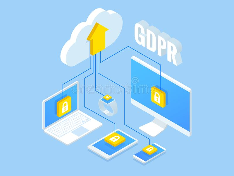 Isometric safety business. General data protection regulation GDPR concept. Idea of data protection. Online safety and. Privacy. Protection software, finance stock illustration