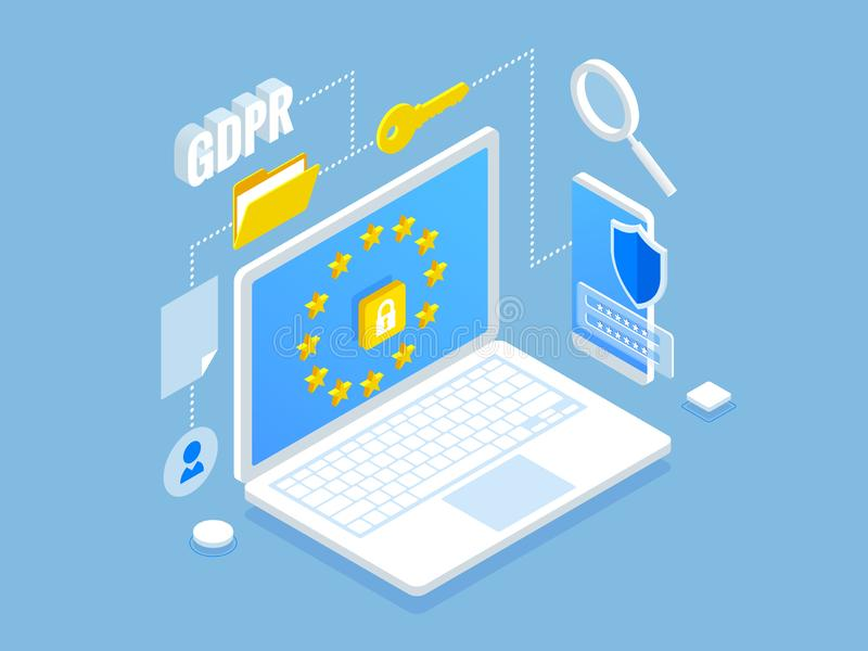 Isometric safety business. General data protection regulation GDPR concept. Idea of data protection. Online safety and. Privacy. Protection software, finance royalty free illustration