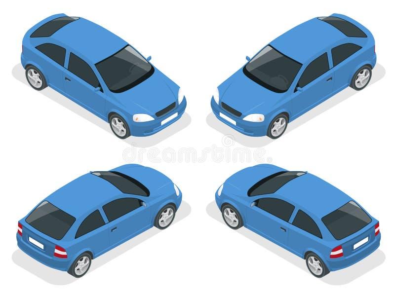Isometric samochód Hatchback samochód Płaski 3d miasta transportu ikony wektorowy wysokiej jakości set ilustracji