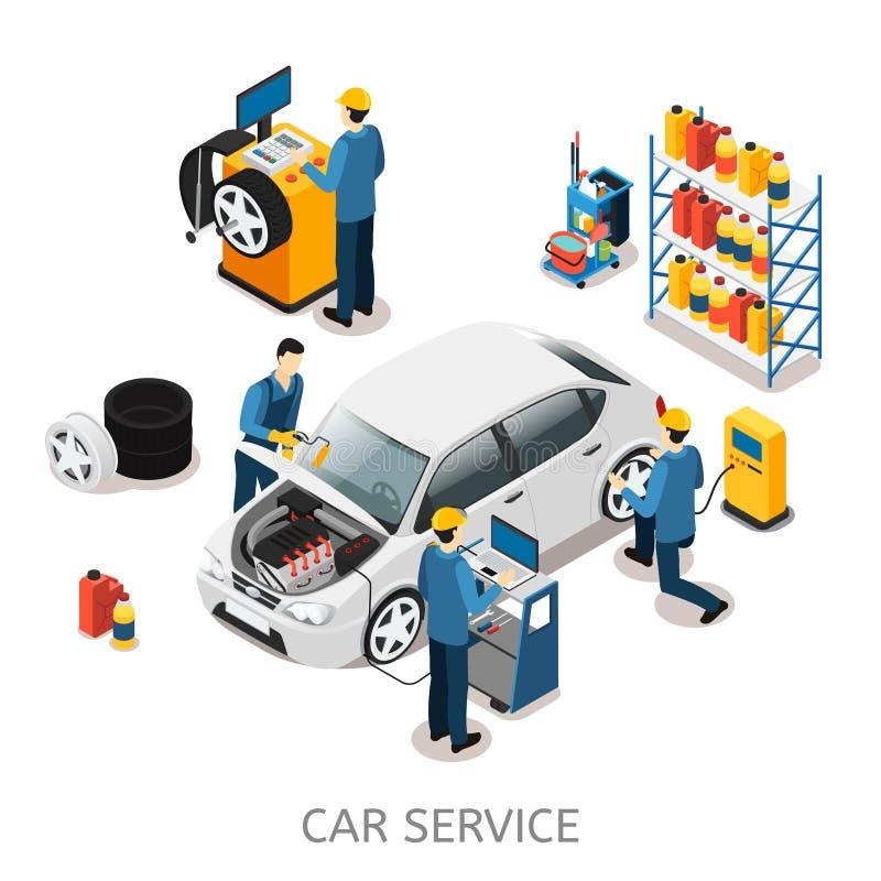 Isometric samochód naprawy centrum pojęcie royalty ilustracja