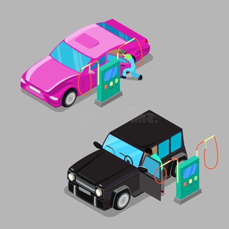 Isometric Samochodowa Cleaner stacja Kierowcy Cleaning samochód royalty ilustracja