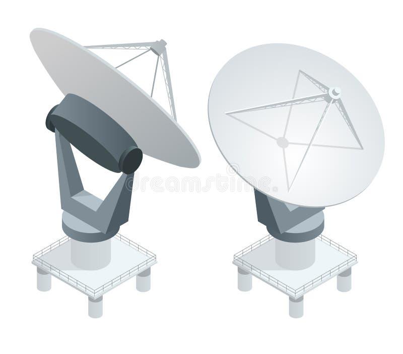 Isometric Satellite dish antennas on white. Wireless communication equipments vector illustration