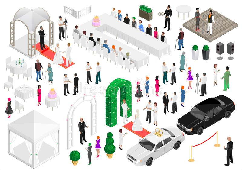 Isometric scheme of the wedding party stock illustration