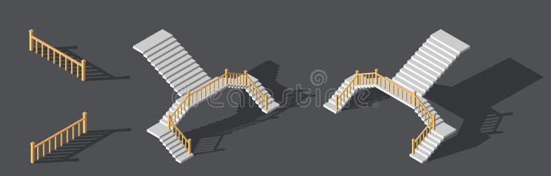 Isometric schodki z poręczem również zwrócić corel ilustracji wektora ilustracja wektor
