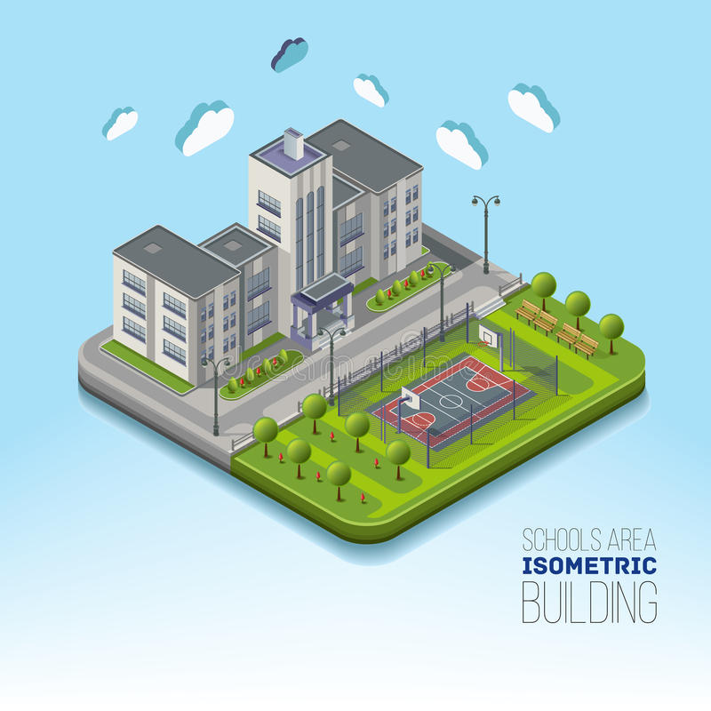 Isometric school area with basketball and garden around vector illustration