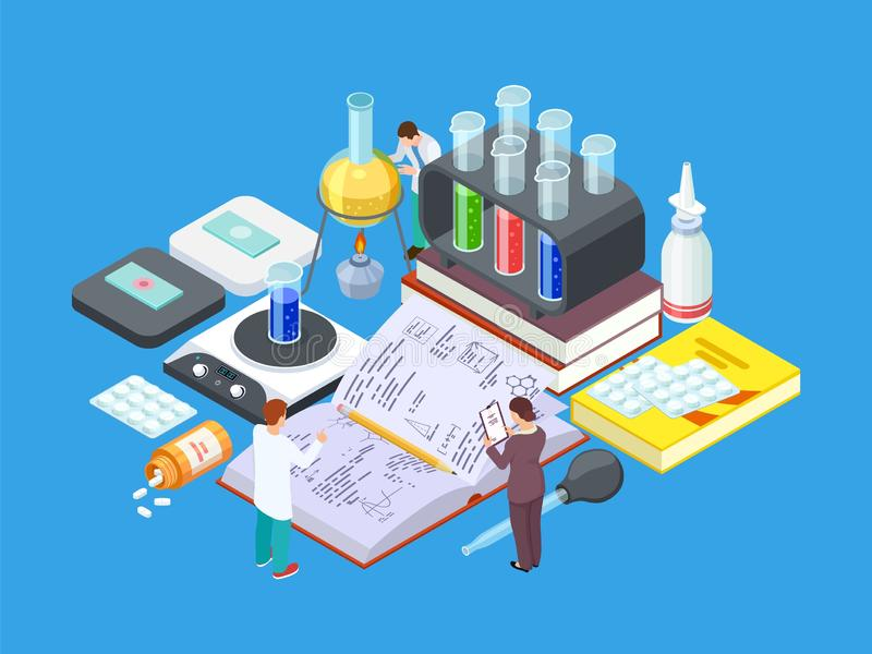 Isometric science lab. Vector medical research concept. Pharmaceutical industry, drug development stock illustration