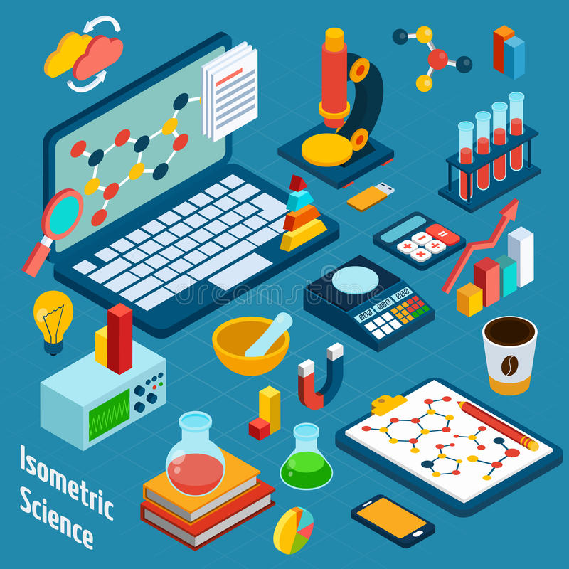 Isometric Science Workplace vector illustration